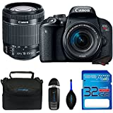 Canon EOS Rebel T7i Camera, EF-S 18-55 IS STM Lens Kit + SanDisk 32GB SD Memory Card + Accessory Bundle
