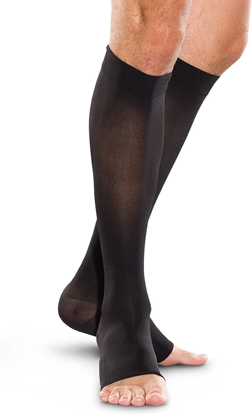 Therafirm Open Toe Knee High Stockings Sand Xl 20 30mmhg Moderate Compression Support Nylons