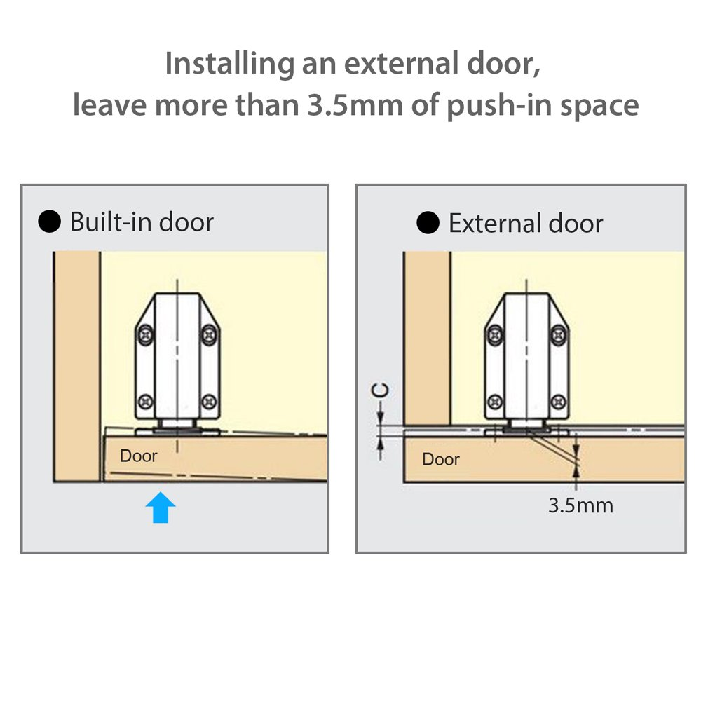 Tanice 4pcs Touch Latch Push to Open Magnetic Latches Catch with Screws Pressure Touch Release for Large Doors Drawer Cabinet Cupboard