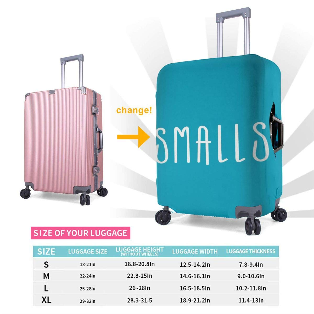 JHNDKJS Youre Killin Me Smalls 4 Travel Luggage Cover Baggage Suitcase Protector Fit for 12-18 Inch Luggage