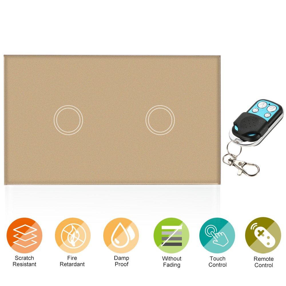 KKmoon US/AU Standard Smart Remote Control Wall Touch Switch Waterproof Fire Retardant High Sensitive Luxury Crystal Glass Switch Panel Touch Screen Single Fire Wirewith 433MHz/1527 Remote Controller