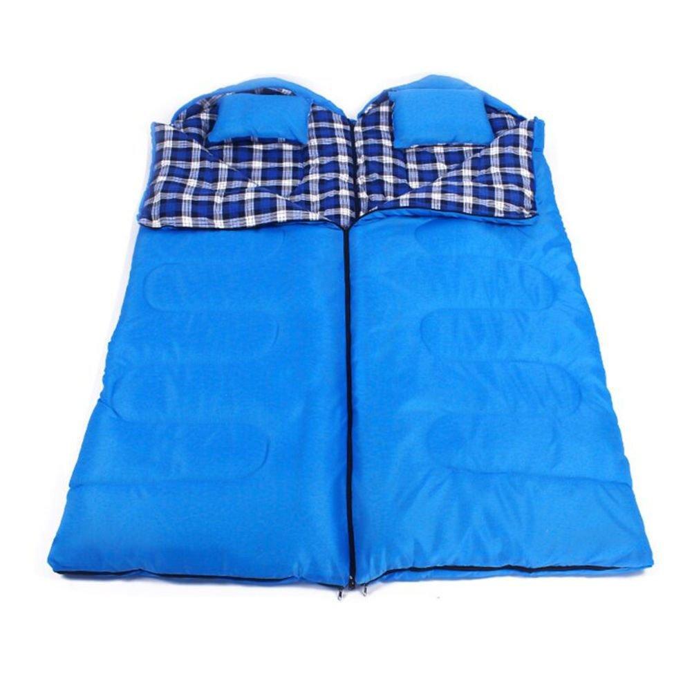 屋外 二重寝袋大人 超軽量 連結可能 キャンプ スリーピングバッグ 枕で 収納袋付き アウトドア 登山 車中泊 防災用 災害時 避難用 B07DYMW9CC 2.6KG|青 青 2.6KG