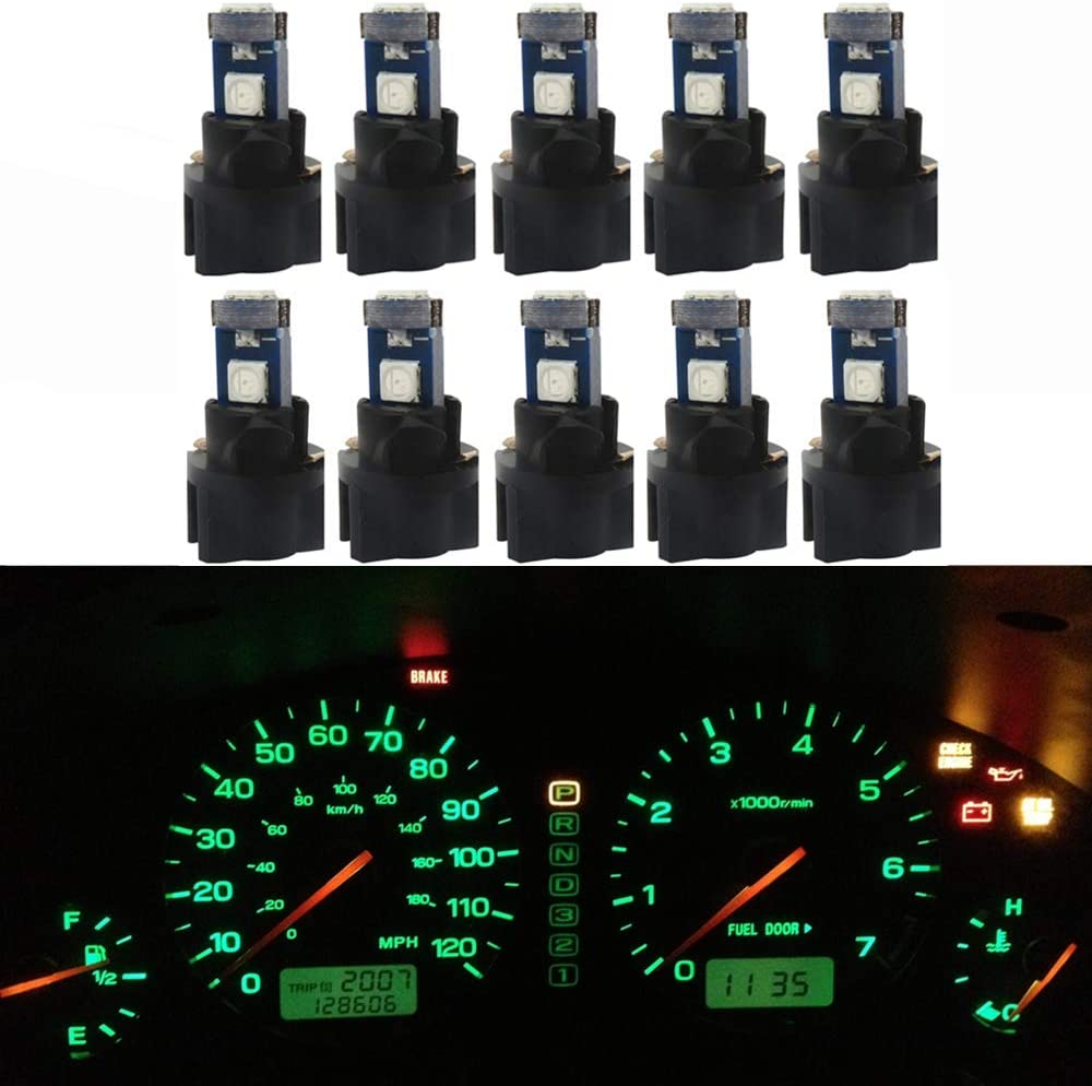WLJH 10 Pack Green Canbus T5 Led Bulb 2721 37 74 Wedge Lamp PC74 Twist Sockets Dash Dashboard Lights Instrument Panel Cluster Leds Replacement