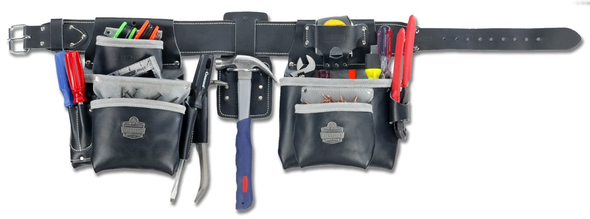 Ergodyne Arsenal 5402 Top Grain Leather 19-Pocket Tool Rig, XL