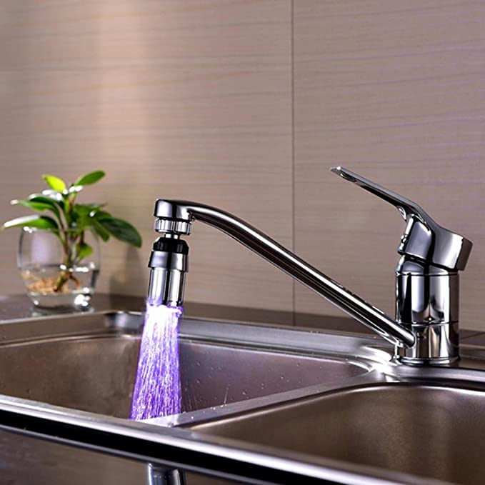 Internal Diameter 0.94 Inch Aolvo 7 Color Changing LED Water Faucet Romantic Light Water Stream Faucet Tap Sink Faucet Accessories For Kitchen and Bathroom