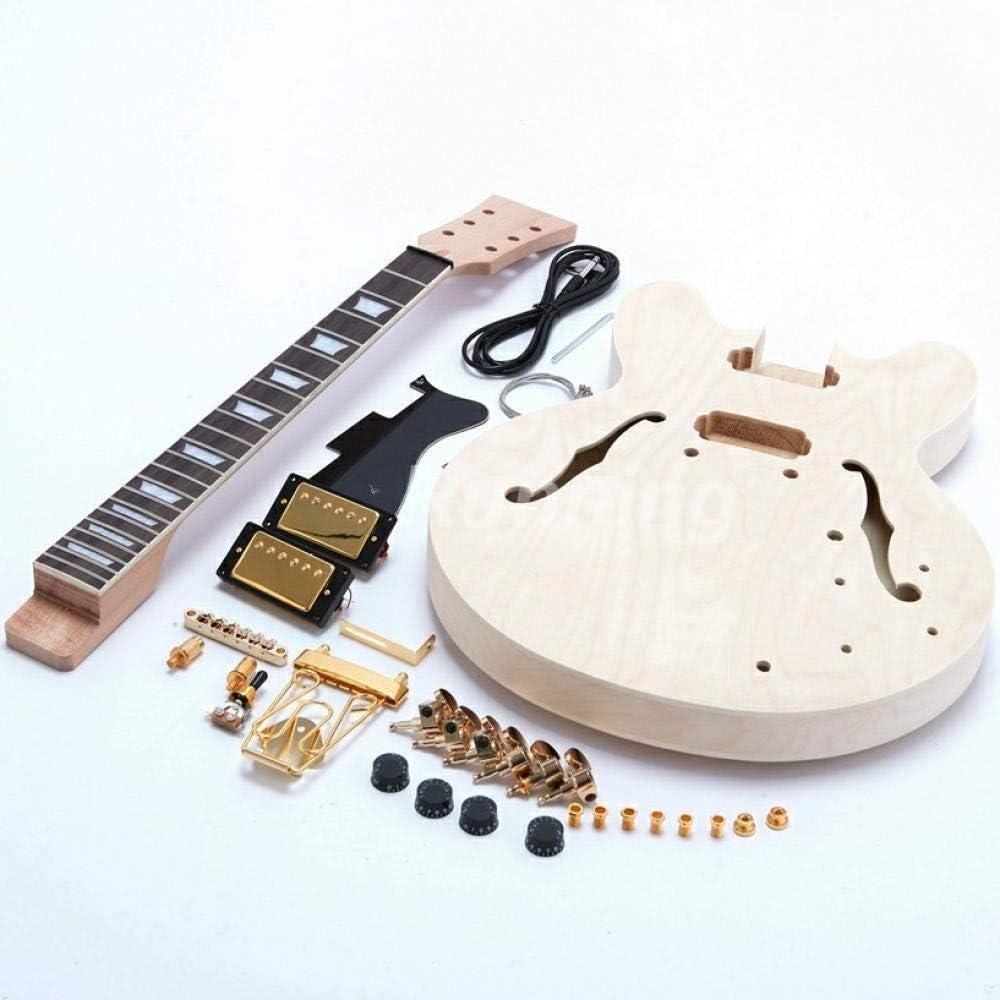 SYXMSM Terminar La Guitarra DIY Guitarra Eléctrica Guitarra Kit Plana Tapa De Arce Cuerpo Hueco Semi