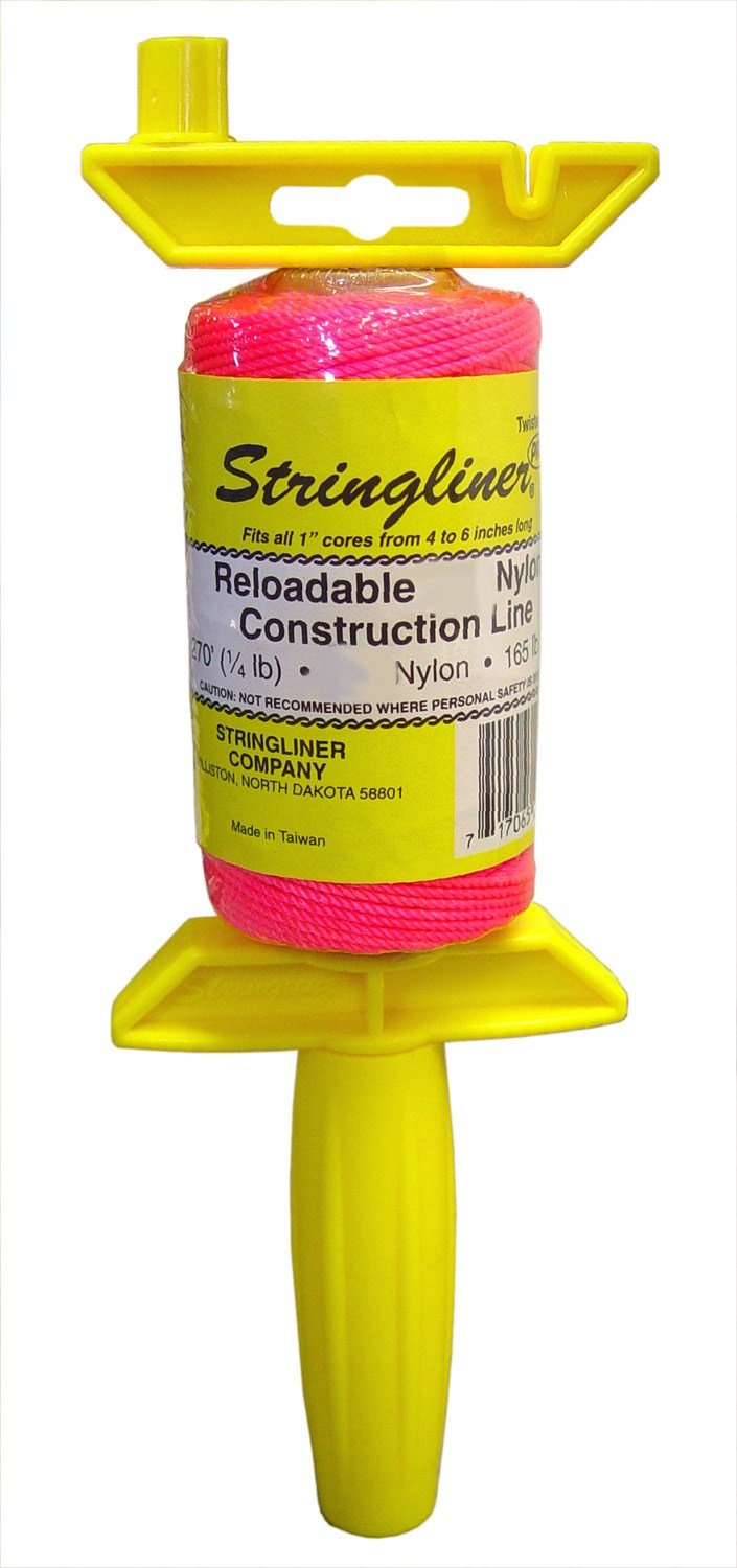Stringliner 25409 1/2-Pound Twisted Pink Nylon Pro Reel Reloadable Construction Line