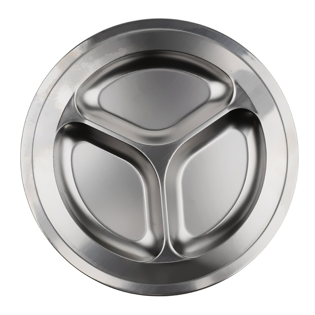 MagiDeal Set of 3 Compartments + 4 Compartments Round Stainless Steel Dinner Dish for Kids Use or Camping Hiking Travel BBQ Picnic by MagiDeal (Image #10)