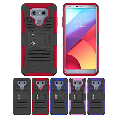 LG G6 Stand Case, HLCT Rugged Shock Proof Dual-Layer Case with Built-in Kickstand for LG G6 (Red)