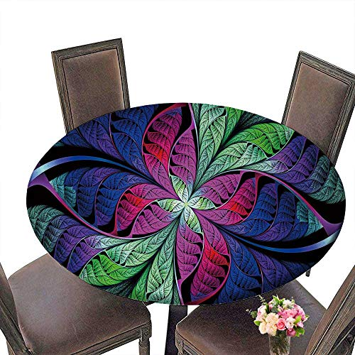 Colored Beautiful Multi (PINAFORE Round Fitted Tablecloth Extraordinary Beautiful Multi Colored Stained Glass Leaves of a Fantastic Plant Abstract for All Occasions 35.5