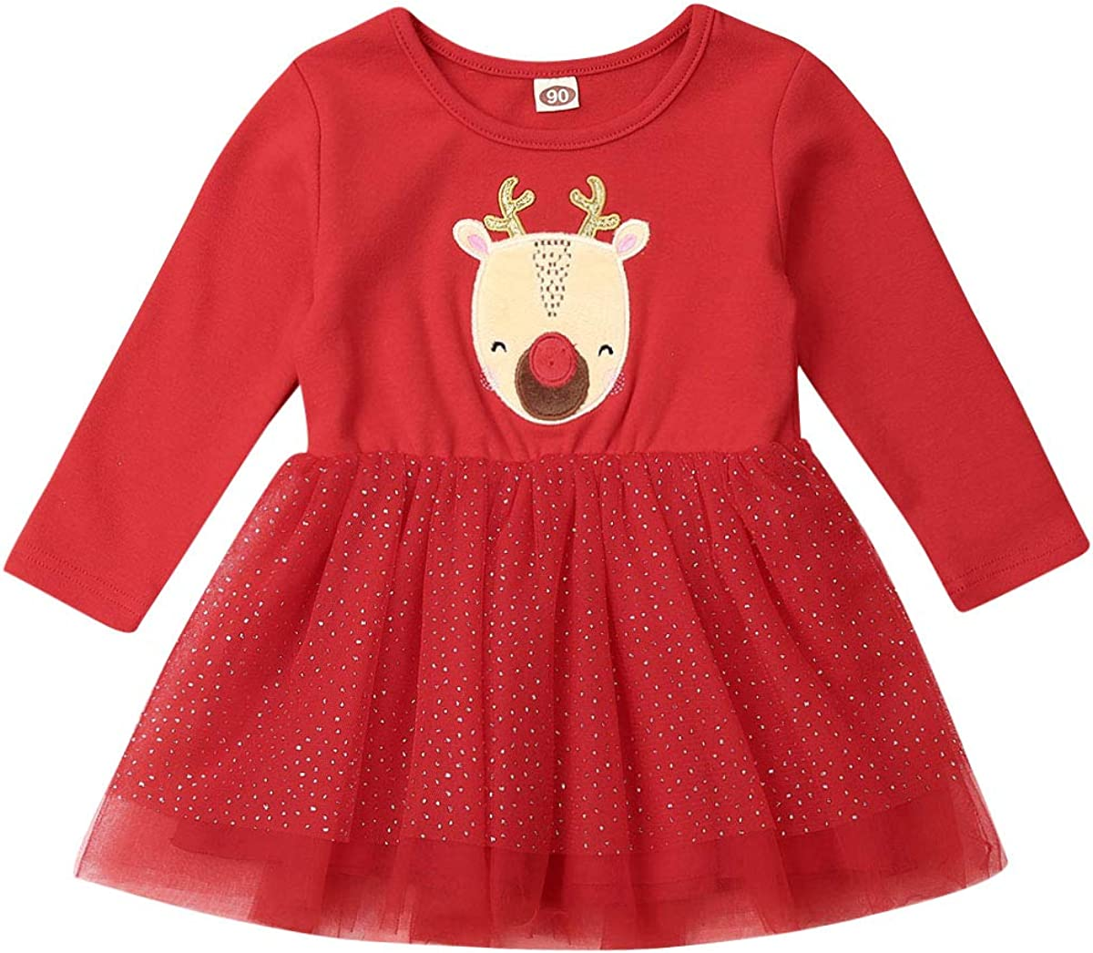 Toddler Newborn Baby Girls Christmas New Year Red Long Sleeve Princess Tutu Dresses Deer Print Xmas Party Dress With Lace Skirt Amazon Co Uk Clothing