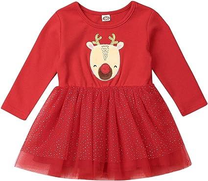 Vestido Niña de Navidad Vestidos de Tul con Manga Larga Disfraz ...