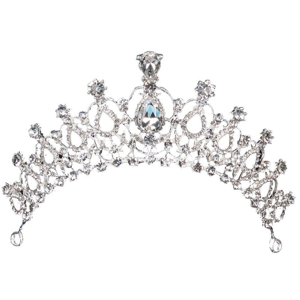 Jixing Cristal Princesse Couronne De Mariage Fê te d'anniversaire Bijoux De Cheveux Diadè me, Alliage de Zinc, Strass, Style 1