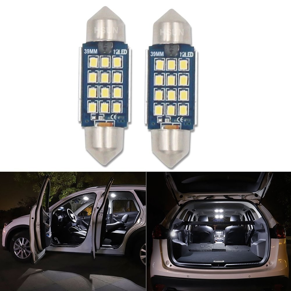 39MM Festoon C5W LED Bulb, HSUN 12V-24V Canbus Error Free LED Bulbs with 12LED SMD2016 Chip for Car Dome Light, Interior Light, Number Plate Lights, Tunk Light and more, 2 Pack, 6000K White