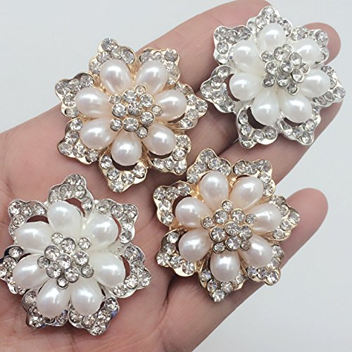 PEPPERLONELY 4PC Sliver & Gold Acrylic Pearl Rhinestone Flat Black Buttons, 40mm (1-9/16 Inch)