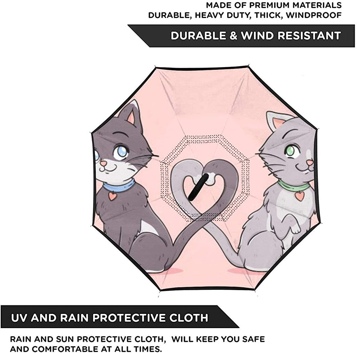 Cat Couple Love Tangling Their Tails Reverse Umbrella Double Layer Inverted Umbrellas For Car Rain Outdoor With C-Shaped Handle Personalized