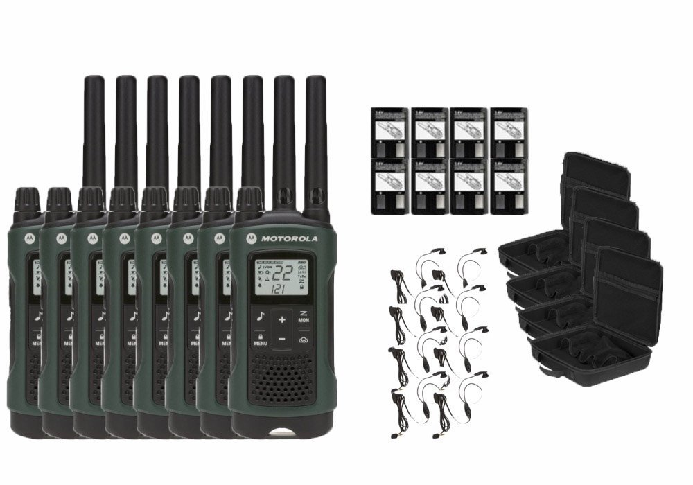 Motorola Talkabout T465 Two-Way Radios / Walkie Talkies - Weatherproof 22 Channels PTT IVOX Flashlight 8-PACK