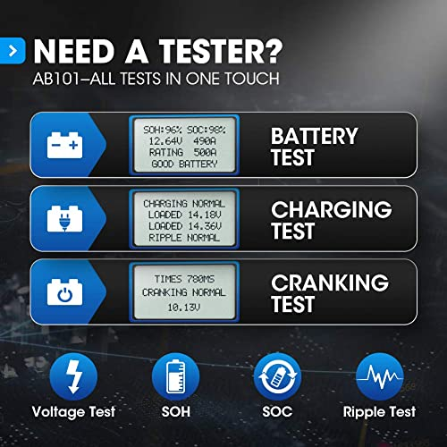 TOPDON AB101 is the best car battery tester, which is appropriate for DIY and any individual