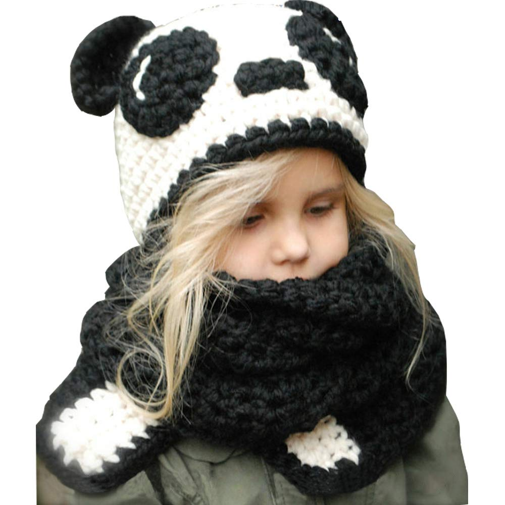 Kids Winter Beanie Hat Hooded Scarf Caps Panda Hand-Knitted Cap Black