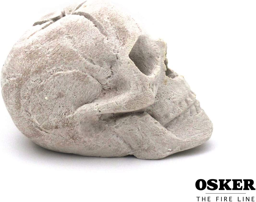 Campfire OSKER Ceramic Fireproof Faux Human Skull Decor for Wood or Gas Fire Pit Fireplace 9 inch BBQ or Halloween Decoration Black