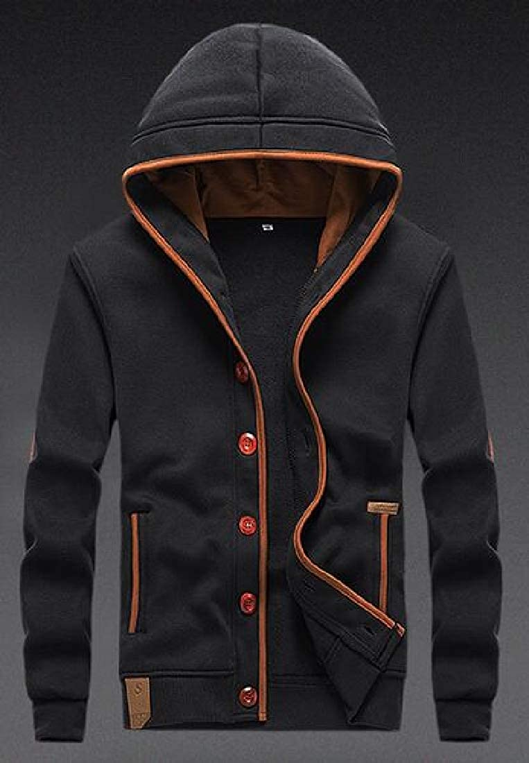 MOUTEN Men Warm Hooded Solid Color Outwear Fall /& Winter Sweatshirt Jacket Coat