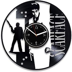 Clock Scarface Vinyl Record Wall Clock Birthday For Man Movie Art Scarface Wall Decor Al Pacino Xmas For Her Scarface Wall Clock Modern Movie Vinyl Art Handmade Clock 12 Inch