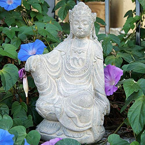 MISC Washed Quan Yin Statue Guanyin Sculpture Chinese Goddess Volcanic Ash Handmade Oriental Decor Taoism China Asian Sitting Meditating, Sand Stone 12
