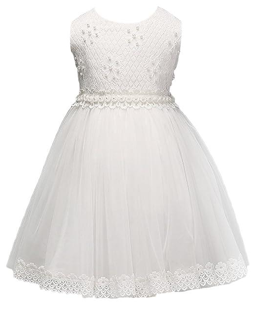 La Vogue Vestido de Boda Fiesta Gasa para Niña Sin Manga Blanco Talla 110