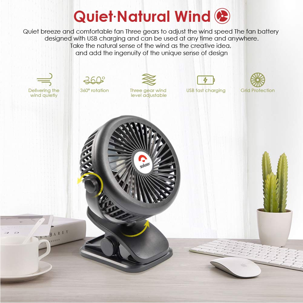 Mini Clip Desk Fan USB Cooling Fans Soluser Personal Rechargeable Fan Portable Auto Oscillating Fan with Stepless Speed for Baby Stroller Car Camping Home Office