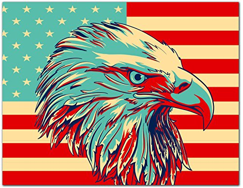 - Patriotic Greeting Cards - USA - American Flag - Bald Eagle - Blank on the Inside - Includes Cards and Envelopes - 5.5