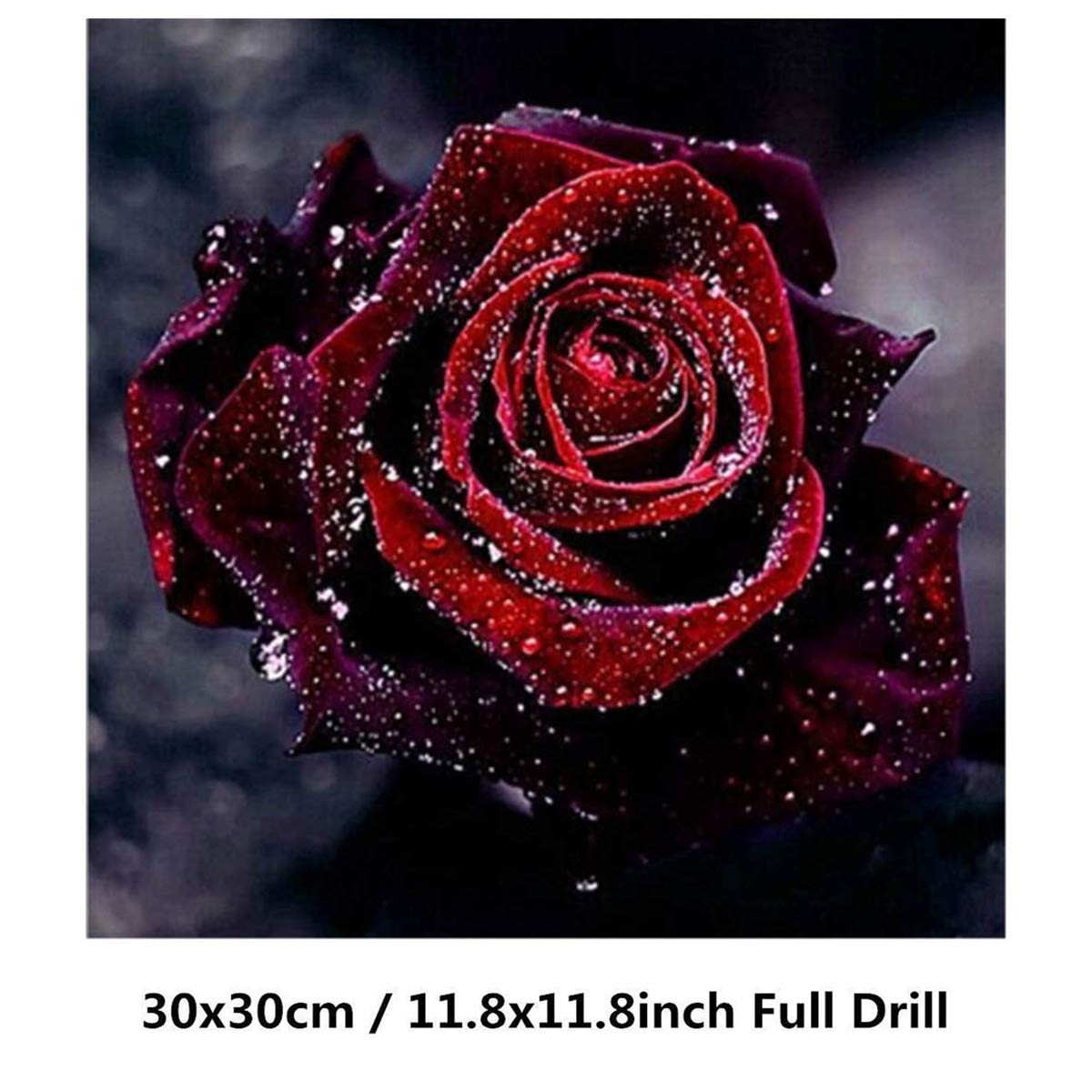 DIY 5D Diamond Painting Kits, Red Rose Full Drill Crystal Rhinestone Embroidery Pictures Arts Craft for Home Wall Decor Gift (Red Rose, 30 × 30 CM)