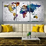 Rainbow Colorful World Map Wall Art, Extra Large World Map Canvas, World Map Print, World Map Poster, World Map Wall Decor, World Map Push Pin
