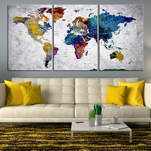 Rainbow colorful world map wall art extra large world map canvas buy now gumiabroncs Gallery