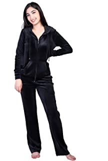 928efe06a355 Dolcevida Women s Active Solid Velour Tracksuit Zip up Hoodie and Sweat  Pant Set