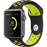EloBeth Apple Watch バンド シリカゲル アップルウォッチApple Watch Series 3 /2 / 1 対応(42mm 黒&黄)