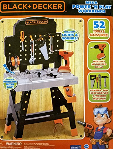 Black and Decker Mega Power 'N Play Workbench, 52 Piece Set