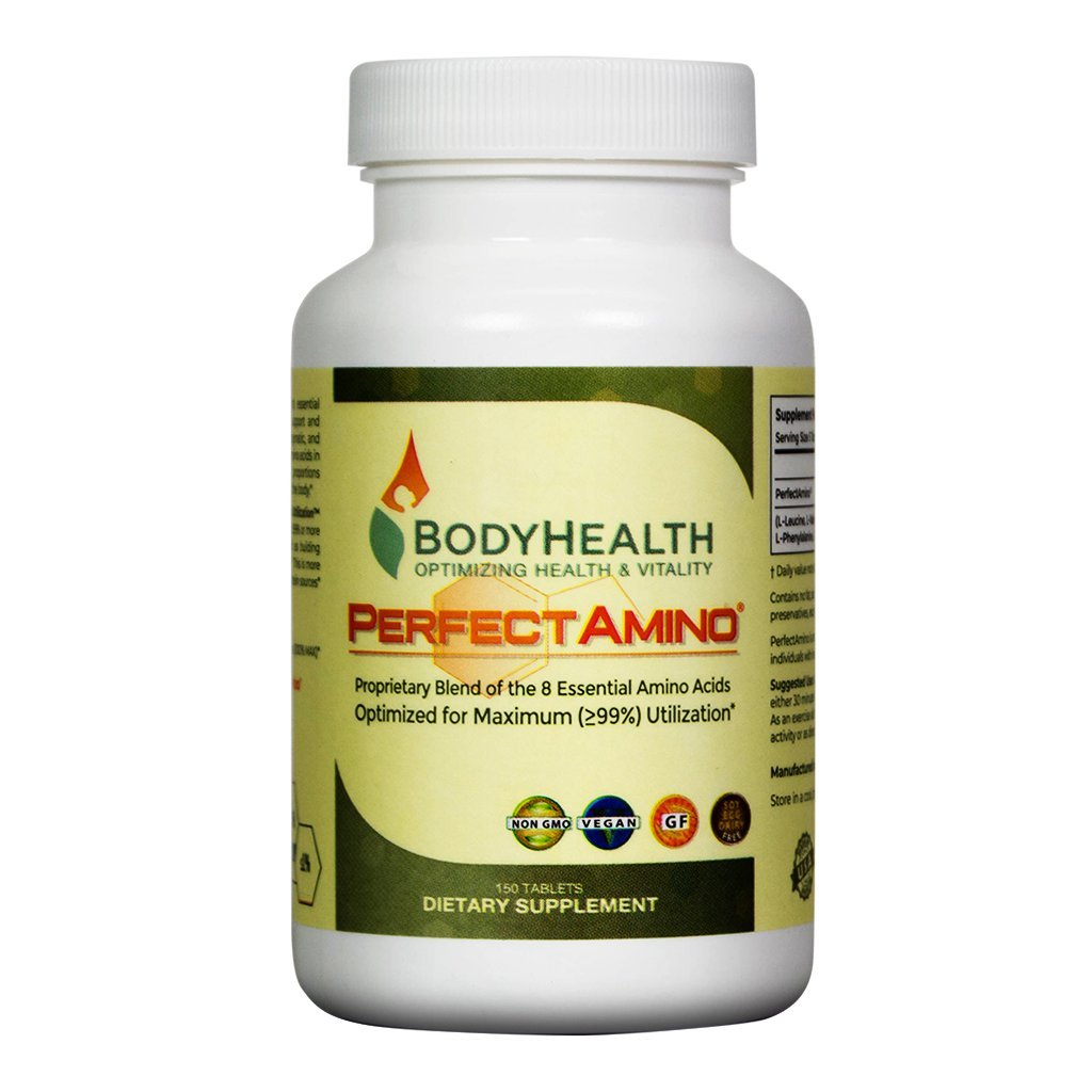 PerfectAmino (150 Tablets) 8 Essential Amino Acids Tablets with BCAA by BodyHealth, Vegan Branched Chain Protein Pre/Post Workout | Increase Lean Muscle Mass, Boost Energy & Stamina| 99% Utilization