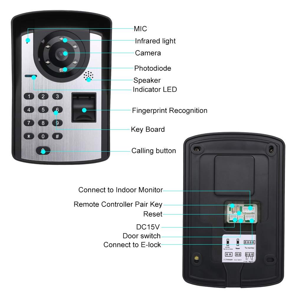 1000 Huellas Dactilares LCD Monitor OWSOO 7 Videoportero Cableado Intercomunicador Manos Libres Desbloqueo de Remoto Contrase/ña C/ámara Impermeable Audio Bidireccional Visi/ón Nocturna
