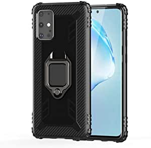 For Samsung Galaxy S20 Plus Mobile Phone Case Buckle Magnetic Silicone Soft Aiti-Fall Protection Case Cover-Black