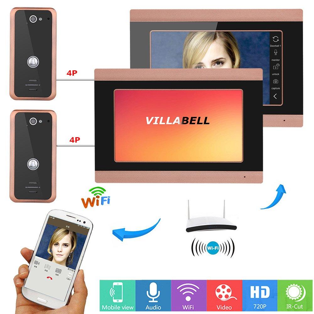 Video-Türklingel-Telefon 7 Zoll Verdrahtet Gegensprechanlage Türklingel Unterstützung Entsperren Infrarot-Nachtansicht Regenfest 2-Kamera 2-Monitor, WiFi