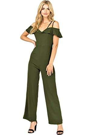 af4a63d99eb6 Amazon.com  Haute Monde Women s Juniors Fitted Off-Shoulder Wide Leg  Jumper  Clothing