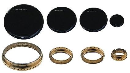 kit para quemadores de cocina de gas Samet - anillas + tapas de laton, 4