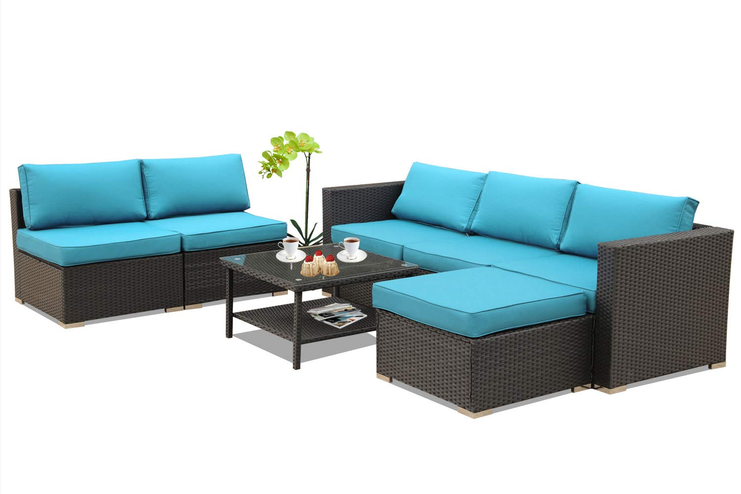Amazon com leaptime patio furniture garden pe rattan sofa 7pcs outdoor sectional couch wicker easy assembled with turquoise cushion black wicker garden