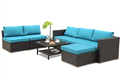 Stupendous Leaptime Patio Furniture Garden Pe Rattan Sofa 7Pcs Outdoor Sectional Couch Wicker Easy Assembled With Turquoise Cushion Black Wicker Cjindustries Chair Design For Home Cjindustriesco