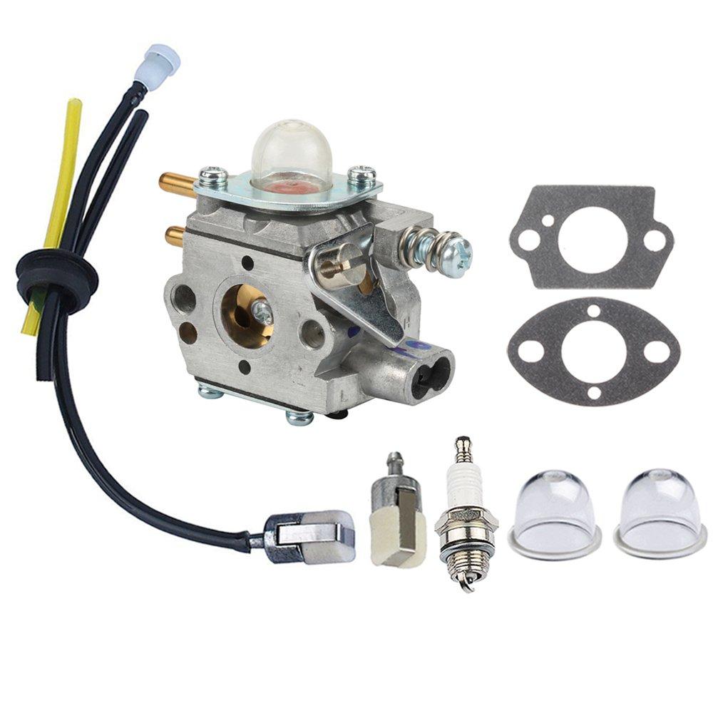 Panari Carburetor + Fuel Line Filter Spark Plug for ECHO Trimmer GT2400 SRM2400 SRM2410 SRM2450 PE2400 PP1250 PP1260 PP1400 PPT2400 SRS2400 TT24 TT24A PPFD2400 PPSR2433 Pole Pruner