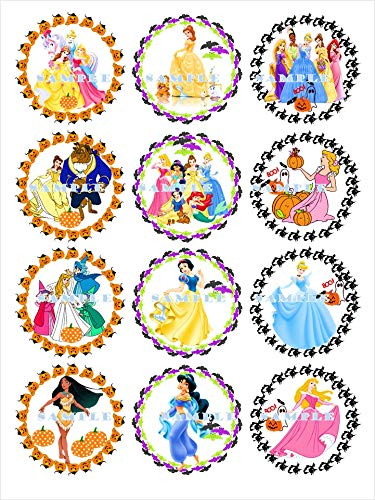HALLOWEEN PRINCESS: edible cupcake topper birthday image decor frosting party decoration premium sheets -