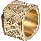 IFUAQZ Anillos masónicos de acero inoxidable para hombre con símbolo masónico, bandas anchas de oro y plata