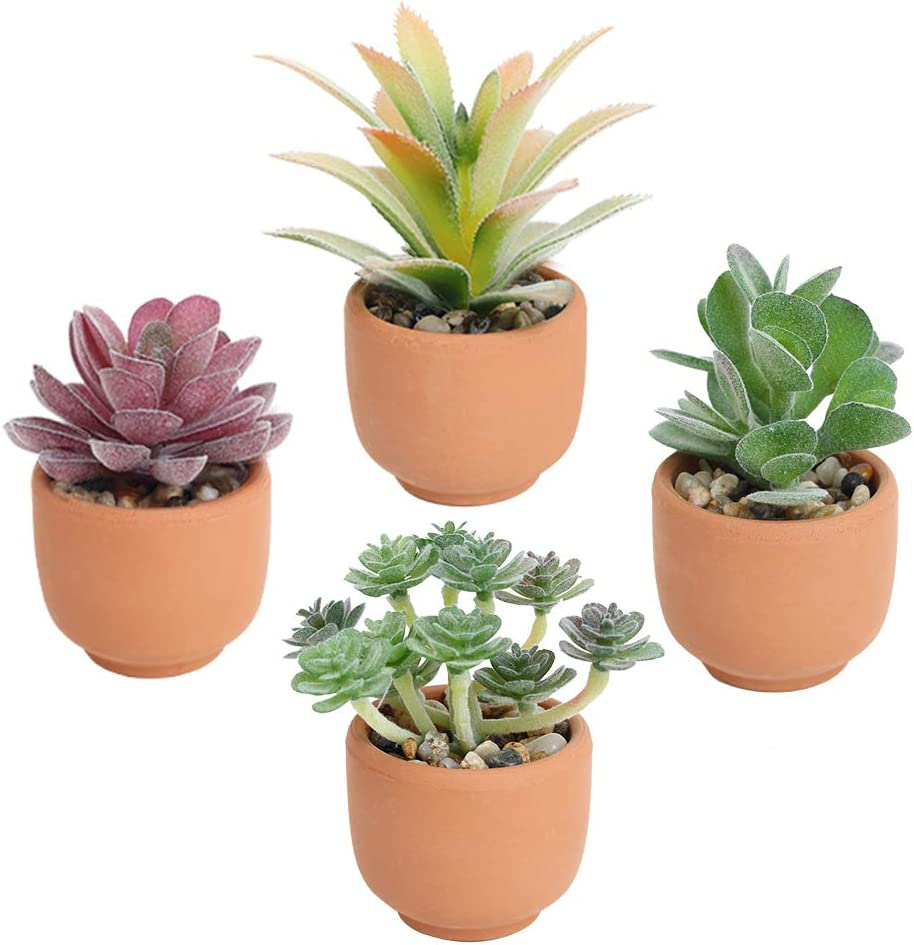 Luyue Artificial Succulent Plants with Pot Realistic Fack Potted Succulent Mini Faux Greenery for Home Office Decor(Terracotta Pots4Pack)