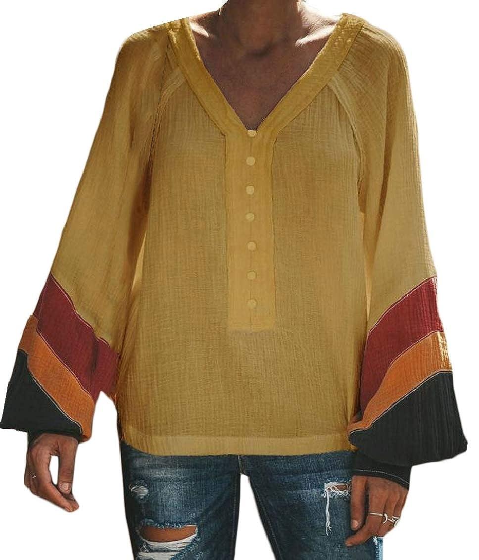 Hajotrawa Womens Basic V Neck Button Contrast Color Lantern Sleeve Top Blouse T-Shirts