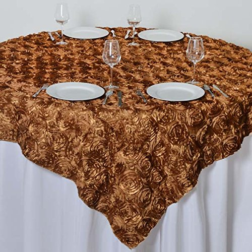 - LinenTablecloth Rosette Satin Square Overlay Tablecloth, 85-Inch, Gold